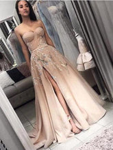 New Arrival Side Slit Strapless Champagne Occasion Prom Dress,GDC1069