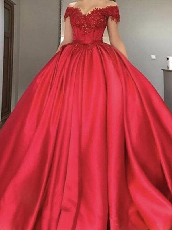 Occasion Red Ball Gown Off Shoulders Wedding Dress Prom Quinceanera Dresses,GDC1133