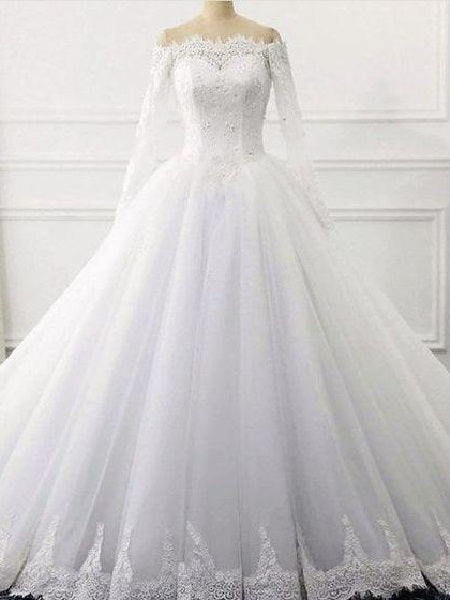Off Shoulders Celebrity Ball Gown Long Sleeves Wedding Dress with Lace Hem Chapel Train,GDC1247