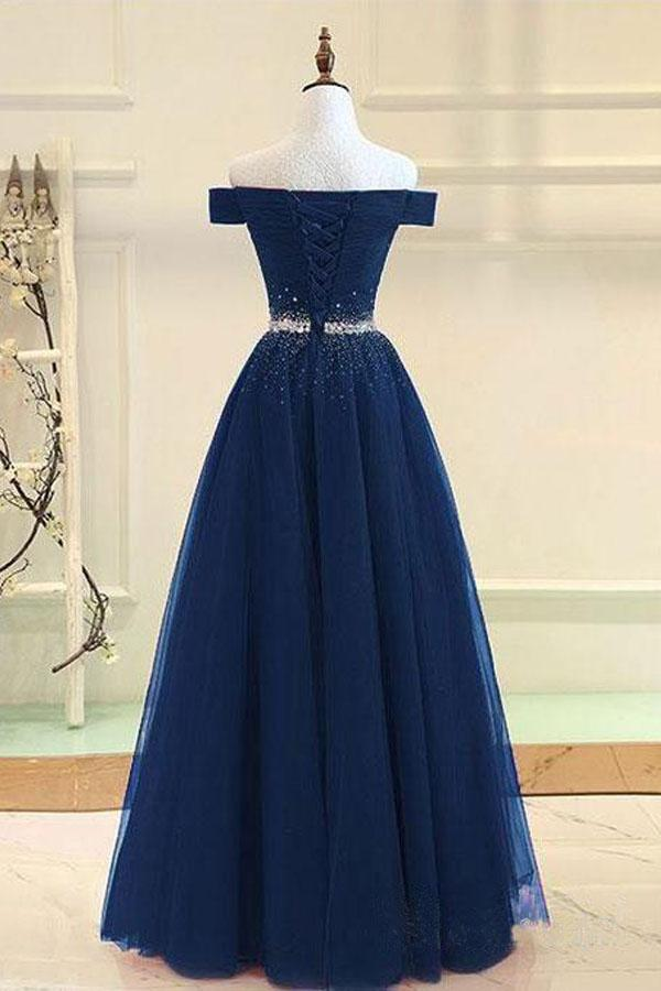 Off Shoulders Navy Blue Tulle Floor Length Prom Dress 8th