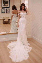 Shop Off the Shoulder See Through Sheath Lace Wedding Dress,Celebrity Wedding Dress,GDC1330
