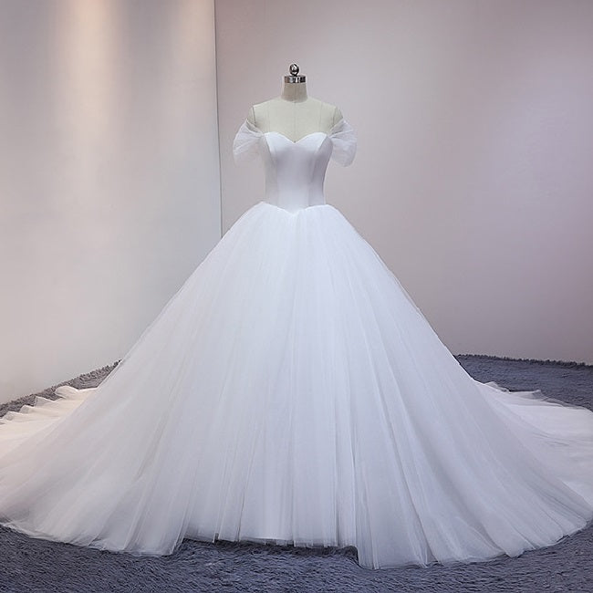 Off the Shoulder Tulle Princess Ball Gown Wedding Dress Unique Ball Gown for Wedding #21011206-Dolly Gown