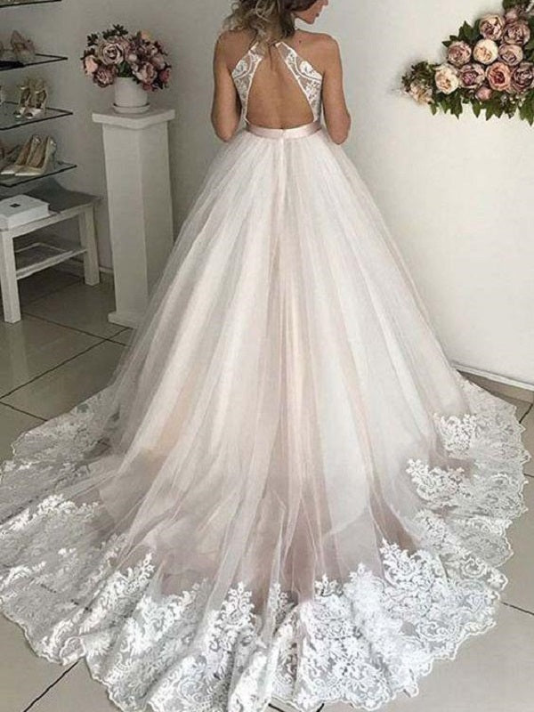 Open Back Plunge V neck Tulle Fall Wedding Dress Ball Gown with Lace Hem Vestido de novia GDC1332