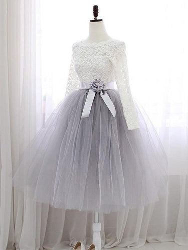 Outlet Cute Two Piece Tulle Skirt Homecoming Dress with Long Sleeves Lace Top,GDC1185