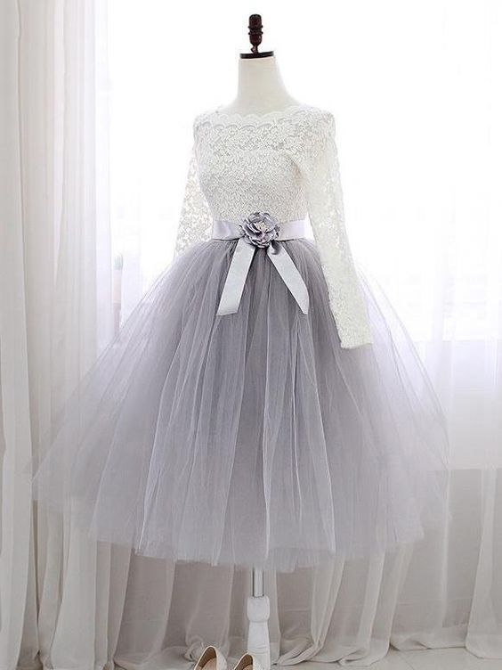 Outlet Cute Short Two Piece Tulle Skirt Homecoming Dress with Long Sleeves Lace Top GDC1185