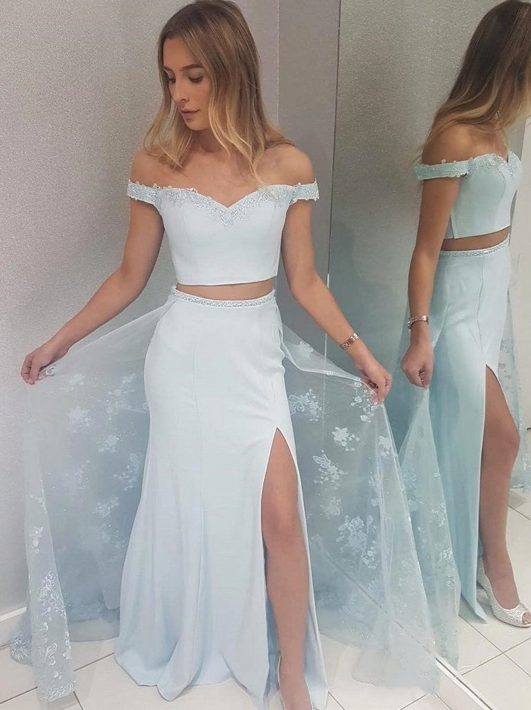 Pale Blue Fit Off the Shoulder Lace Two Piece Long Prom Dress with Side Slit,20081625