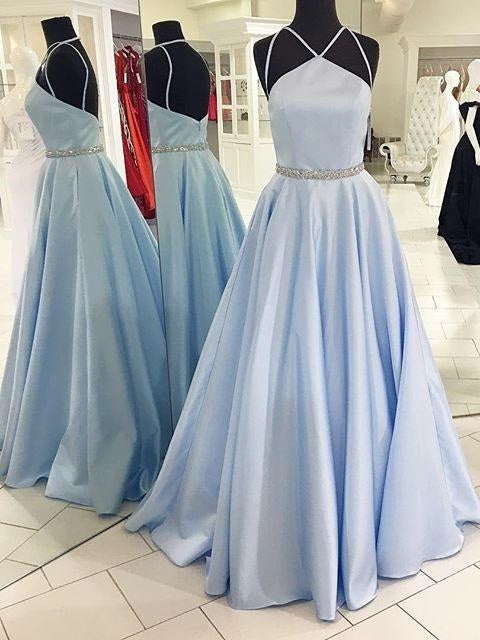 Pale Light Blue Prom Dress Ball Gown Prom Dress Long Disney Prom Dress MA171-Dolly Gown