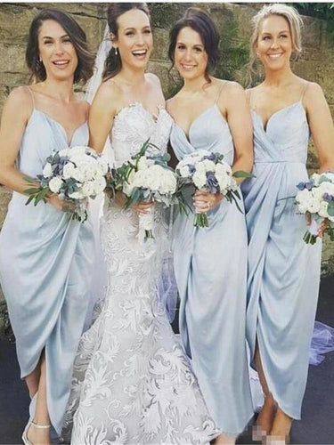 Pale Blue Boho Summer Chiffon Tea Length Bridesmaid Dresses,Summer Bridesmaid Dresses,GDC1293