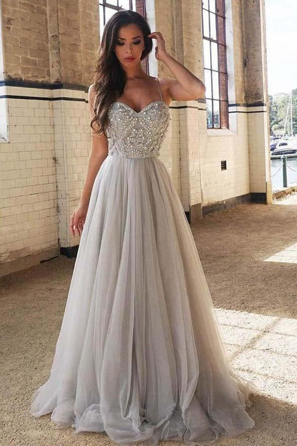45127763417 Pale Gray Sparkly Beading Tulle A-line Prom Dress Long