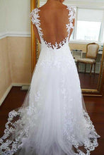 Perfect Vintage Lace Open Back Long A-line Wedding Dress,GDC1269-Dolly Gown