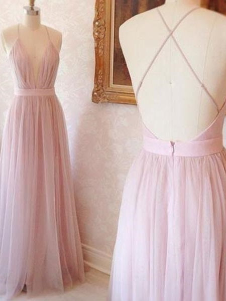 Pink Bridesmaid Dresses Sexy Bridesmaid Dresses Sexy Pink Tulle Prom Dress FS079-Dolly Gown