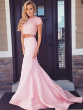 Pink Prom Dress Long Prom Dress Two Piece Prom Dress Cheap Prom Dress MA133-Dolly Gown