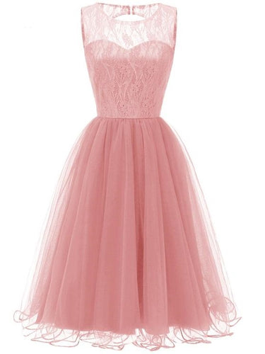 Pink Retro Modest Navy Lace Tulle Cocktail Dress Short Homecoming Dress, 074P-Dolly Gown