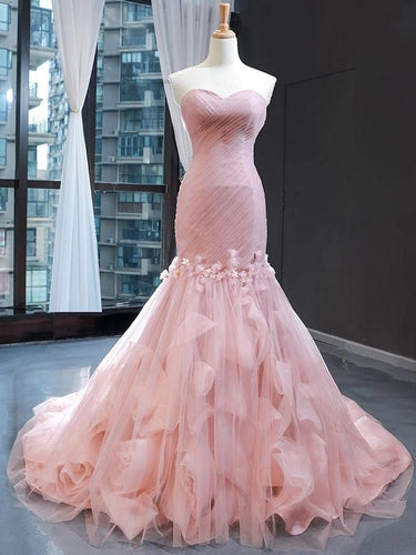 Pink Tulle Princess Strapless Long Prom Dress with ruffles Skirt,20081615