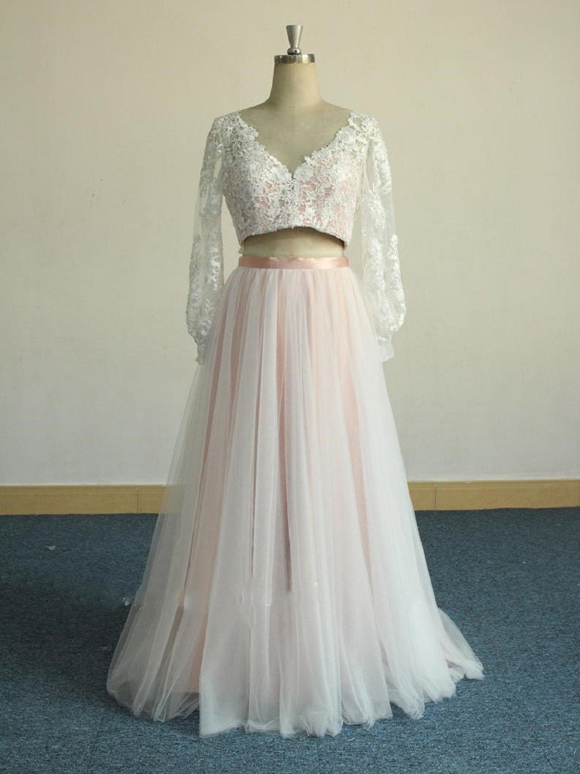 Pink Two Piece Long Sleeve Wedding Dress with Tulle Skirt White Lace Overlayer,20082226-Dolly Gown