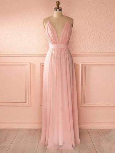 Pink Chiffon Bridesmaid Dresses Long Plunge V neck Prom Dress GDC1184-Dolly Gown