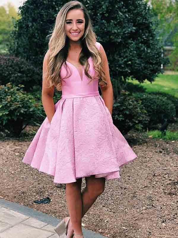 Pink Short Homecoming Dress, Short Prom Dress,GDC1297-Dolly Gown