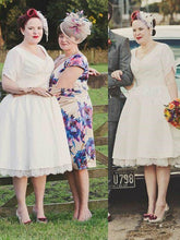 Pinup Short Sleeved Rockabilly 1950s Style Tea Length Wedding Dress,20082027