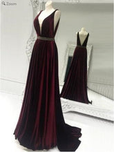 Plunge V neck Long Velvet Prom Dress with Beading Around Waist,GDC1149