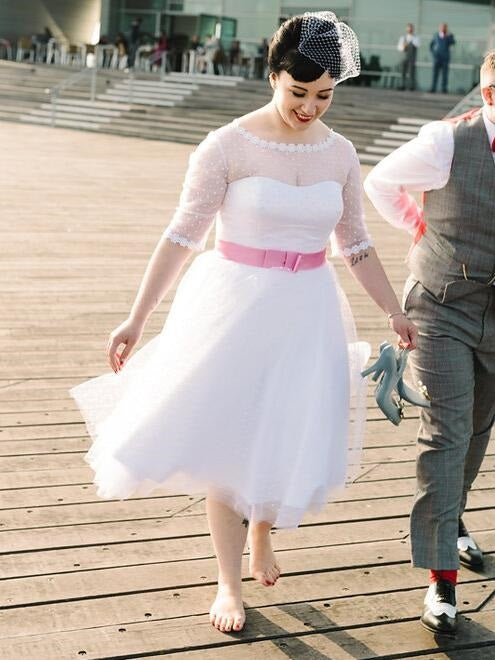 Polka Dot Bateau Neck 50s Inspired Tea Length Wedding Dress with 1/2 Sleeves,20101612-Dolly Gown