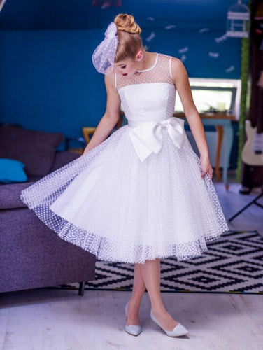 Polka Dots Rockabilly Short Barn Wedding Attire with Satin Binding,50s Style Pin Up Wedding Dress,20110631