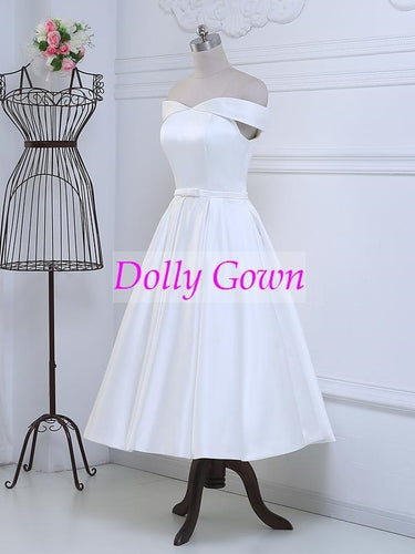 Pretty 50s Inspired Off Shoulders Tea Length Vintage Wedding Dress with Cute Bow at Waist,DO001-Dolly Gown