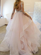 Princess Backless Ruffles Skirt Long Sleeves Bridal Wedding Dress,GDC1131