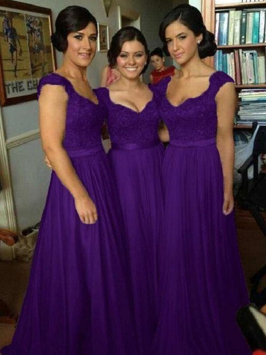 Purple Bridesmaid Dresses Purple Lace Top Bridesmaid Dresses Long Chiffon Bridesmaid Dresses FS072