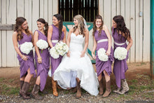 Purple One Shoulder Chiffon Long Country Style Bridesmaid Dress with Boots,20081826-Dolly Gown