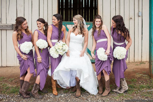 Purple One Shoulder Chiffon Long Country Style Bridesmaid Dress with Boots,20081826