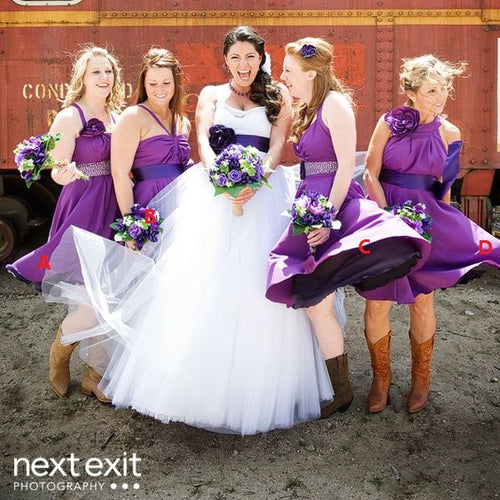 Purple Pastel Short Country Style Rustic Bridesmaid Dresses with Boots,20081901-Dolly Gown