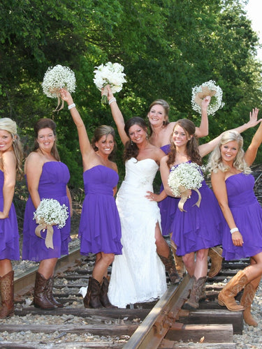 Purple Short Chiffon Bridesmaid Dresses with Cowgirl Boots,20081825