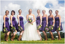 Purple Styrapless Short country western bridesmaid dresses with boots,20081902
