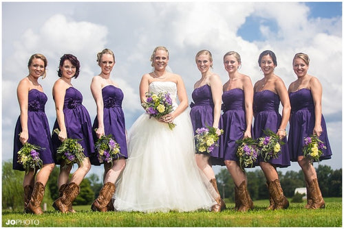 Purple Strapless Short country western bridesmaid dresses with boots,20081902