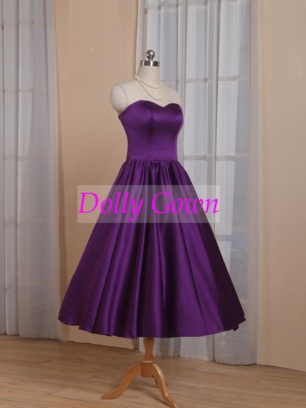 Purple Sweetheart 1950's Tea Length Country Style Vintage Bridesmaid Dresses-Dolly Gown