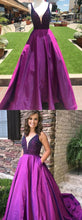 Purple Teens Ball Gown Plunge V neck Beading Prom Dress with Pockets,GDC1118