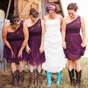 Purple Lace One Shoulder A-line Rustic Country Chiffon Bridesmaid Dresses with Cowgirl Boots,GDC1501
