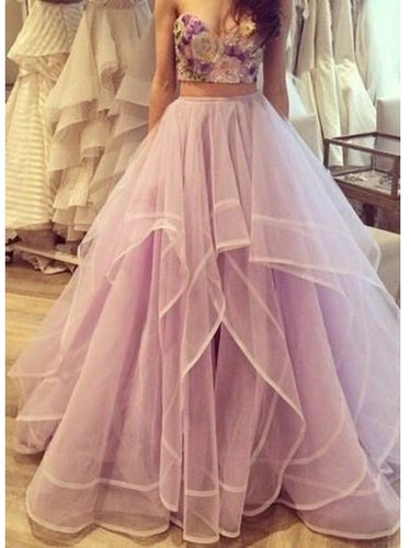 Quinceanera Dresses Ruffles Prom Dress Lilac Prom Dress Ball Gown Prom Dress MA153