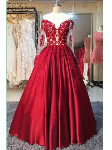 Ball Gown Prom Dress,Red Prom Dress,Off Shoulder Prom Dress, Long Sleeve Prom dress,MA008-Dolly Gown