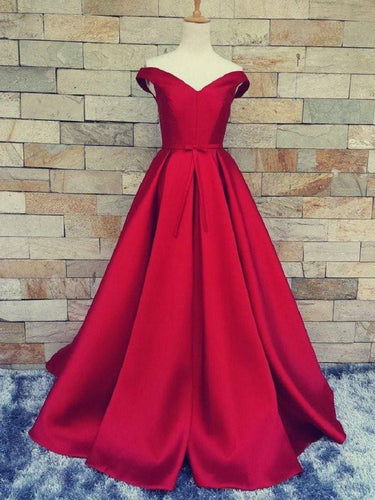 Red Ball Gown Prom Dress Off the Shoulder Prom Dress Long Prom Dress MA001-Dolly Gown