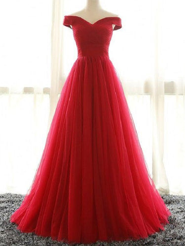 Red Off the Shoulder Prom Dress Long Tulle Prom Dress 2021 Prom Dress Robe De Soirée Pas Cher MA002-Dolly Gown