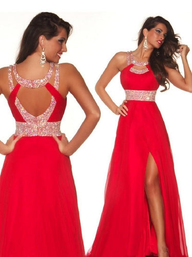 Red Prom Dress with Side Slit Prom Dress Long Evening Dress with Split Front MA148-Dolly Gown