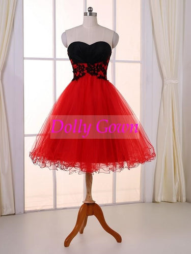 Red Short Prom Dress Teenager Prom Dress Strapless Prom Dress 2021 Short Formal Dress,18032805-Dolly Gown