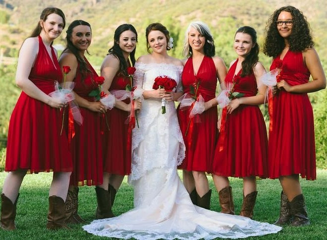 5e5429c6b6 Red Chiffon Country Halter Neck Bridesmaid Dresses Short with Cowboy Boots