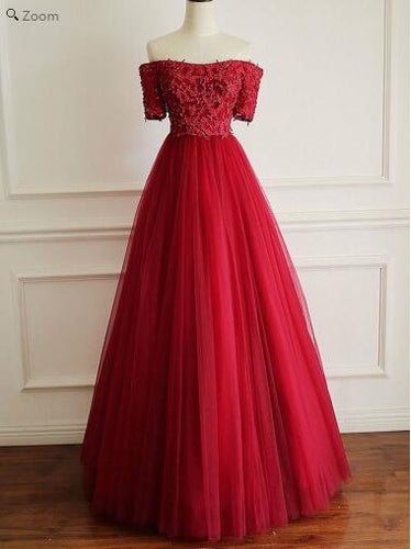 Red Custom Made Off Shoulder Senior School Tulle Prom Dress,Freshman Dress,GDC1181-Dolly Gown