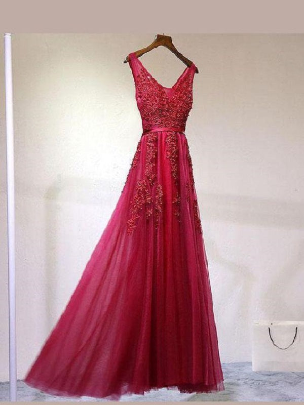 Red Lace Appliques See Through Prom Dress,Long Party Graduation Dress,GDC1345