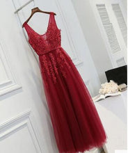 Red Lace Appliques See Through Prom Dress Long Party Graduation Dress,GDC1345