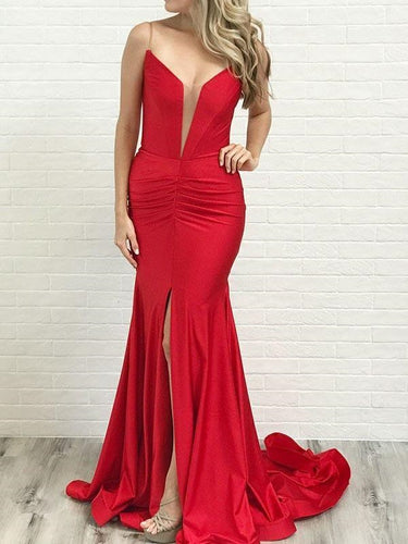 Red Mermaid Plunge V neck Plus Size Prom Dress,GDC1281-Dolly Gown