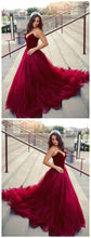 Red Maroon Princess Ball Gown Tulle Wedding Dress,Red Prom Gown.GDC1059