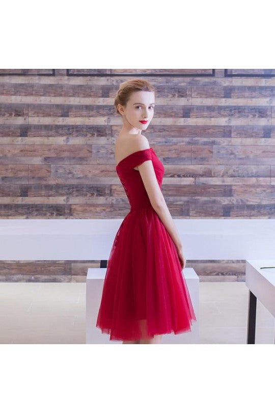 b58ac8114be Red Short Off Shoulders Tulle Short Prom Dress